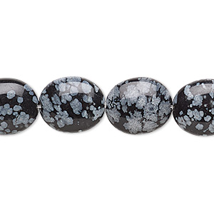 bead, snowflake obsidian (natural), 14x12mm flat oval, b grade, mohs hardness 5 to 5-1/2. sold per 16-inch strand.