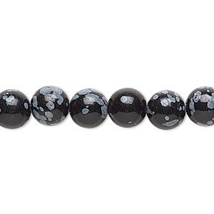 bead, snowflake obsidian (natural), 8mm round, b grade, mohs hardness 5 to 5-1/2. sold per 16-inch strand.