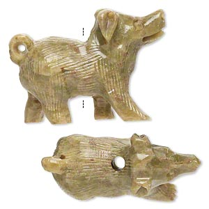 bead, soapstone (coated), 34x25mm-36x26mm hand-carved walking dog, c grade. sold per pkg of 2.