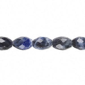 bead, sodalite (natural), 10x7mm faceted oval, b grade, mohs hardness 5 to 6. sold per 16-inch strand.