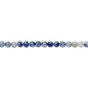 bead, sodalite (natural), 3mm round, b grade, mohs hardness 5 to 6. sold per 16-inch strand.