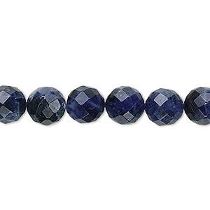 bead, sodalite (natural), 8mm faceted round, b grade, mohs hardness 5 to 6. sold per 16-inch strand.