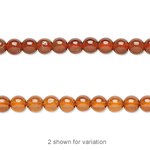 bead, spessartite garnet (natural), 5-6mm round with 0.5-1.5mm hole, b+ grade, mohs hardness 7 to 7-1/2. sold per 16-inch strand.