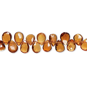 bead, spessartite garnet (natural), 7x5mm-8x6mm hand-cut top-drilled faceted teardrop with 0.4-1.4mm hole, b+ grade, mohs hardness 7 to 7-1/2. sold per 8-inch strand, approximately 55-60 beads.