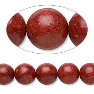 bead, sponge coral (dyed / coated), red, 9-10mm round, c- grade, mohs hardness 3-1/2 to 4. sold per 15-inch strand.
