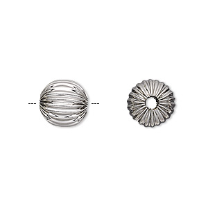 bead, stainless steel, 10mm corrugated round, 2mm hole. sold per pkg of 2.