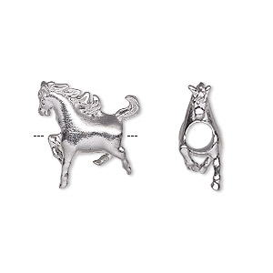 bead, stainless steel, 18x18mm 3d horse with 4.5mm hole. sold individually.
