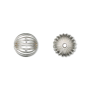 bead, sterling silver, 11mm seamless corrugated round. sold per pkg of 10.