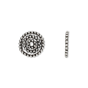 bead, sterling silver, 13x1.5mm flat disc with design. sold per pkg of 4.