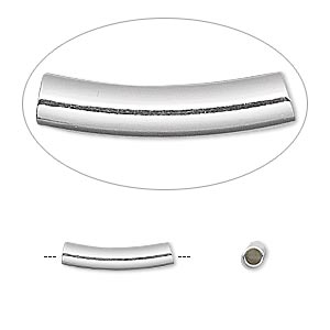 bead, sterling silver, 15x3mm curved round tube. sold per pkg of 10.
