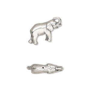 bead, sterling silver, 17x11mm asian elephant. sold individually.