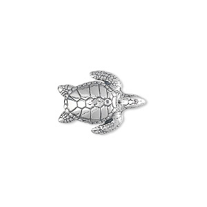 bead, sterling silver, 19x13mm hawksbill sea turtle. sold individually.