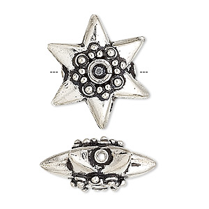 bead, sterling silver, 21x10mm puffed star. sold individually.