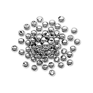 bead, sterling silver, 3mm seamless round. sold per pkg of 50.