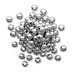 bead, sterling silver, 4mm seamless-look round. sold per pkg of 50.