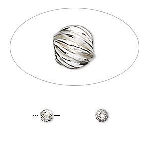 bead, sterling silver, 4mm twisted corrugated round. sold per pkg of 2.