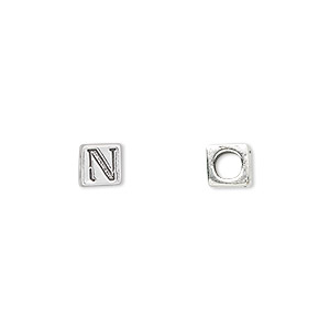 bead, sterling silver, 5.5x5.5mm cube with alphabet letter n and 3.5mm hole. sold individually.
