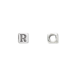 bead, sterling silver, 5.5x5.5mm cube with alphabet letter r and 3.5mm hole. sold individually.