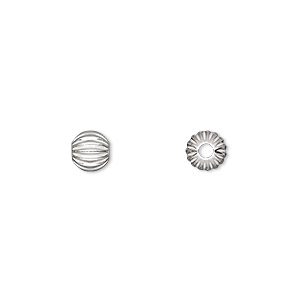 bead, sterling silver, 6mm seamless corrugated round with 2mm hole. sold per pkg of 10.