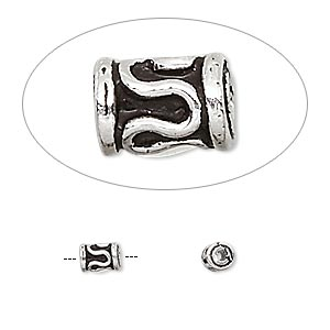 bead, sterling silver, 6x4mm tube with scroll. sold per pkg of 4.