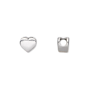 bead, sterling silver, 7.5x7mm blank alphabet heart with 3mm hole. sold individually.