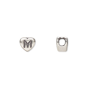 bead, sterling silver, 7.5x7mm heart with alphabet letter m and 3mm hole. sold individually.