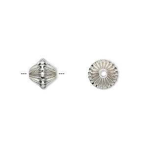 bead, sterling silver, 8mm corrugated bicone. sold per pkg of 10.