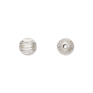 bead, sterling silver, 8mm seamless corrugated round. sold per pkg of 10.