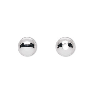 bead, sterling silver, 9mm seamless round with 2mm hole. sold per pkg of 10.