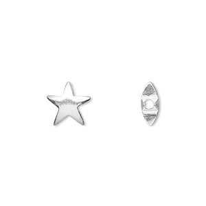 bead, sterling silver, 9x9mm puffed star. sold per pkg of 2.