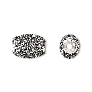 bead, sterling silver and marcasite, 16x12mm oval with 2mm hole. sold individually.