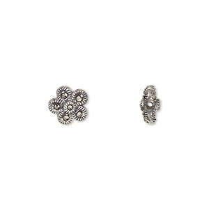 bead, sterling silver and marcasite, 8.5mm two-sided flower. sold individually.