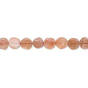 bead, sunstone (natural), 5-6mm hand-cut flat round, c grade, mohs hardness 6 to 6-1/2. sold per 14-inch strand.