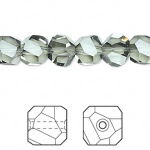 bead, swarovski crystal, black diamond, 8x8mm faceted graphic cube (5603). sold per pkg of 6.
