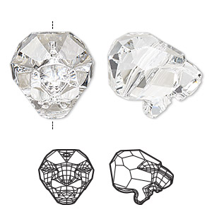 bead, swarovski crystal, crystal clear, 24x20mm faceted cougar (5751). sold per pkg of 6.