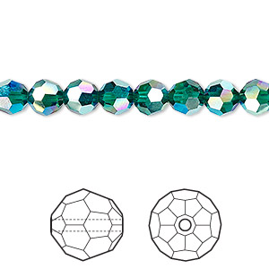 bead, swarovski crystal, crystal passions, emerald ab2x, 6mm faceted round (5000). sold per pkg of 12.