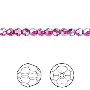 bead, swarovski crystal, crystal passions, fuchsia ab, 4mm faceted round (5000). sold per pkg of 12.