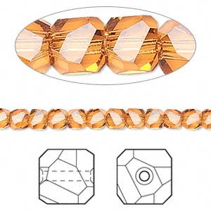 bead, swarovski crystal, topaz, 4x4mm faceted graphic cube (5603). sold per pkg of 12.