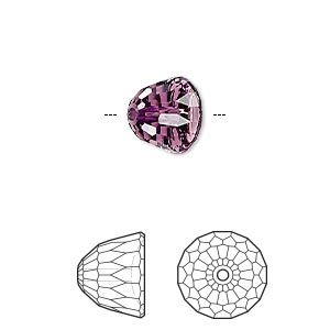 bead, swarovski crystals, amethyst, 10x8mm faceted dome small (5542). sold per pkg of 96.