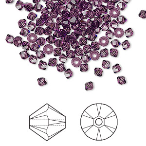bead, swarovski crystals, amethyst, 3mm xilion bicone (5328). sold per pkg of 144 (1 gross).