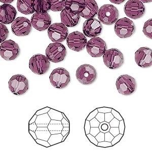 bead, swarovski crystals, amethyst, 6mm faceted round (5000). sold per pkg of 360.