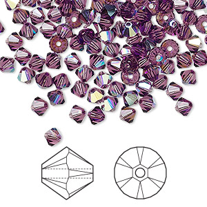 bead, swarovski crystals, amethyst ab, 4mm xilion bicone (5328). sold per pkg of 144 (1 gross).