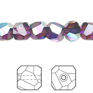 bead, swarovski crystals, amethyst ab, 8x8mm faceted graphic cube (5603). sold per pkg of 6.