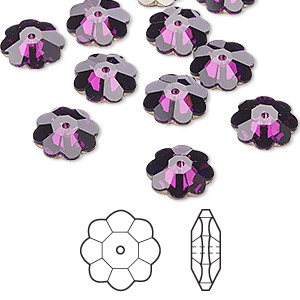 bead, swarovski crystals, amethyst, foil back, 10x3.5mm faceted marguerite lochrose flower (3700). sold per pkg of 12.