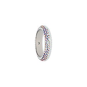 bead, swarovski crystals and epoxy, crystal passions, crystal ab and white, 18.5mm pave thread ring (85001). sold individually.
