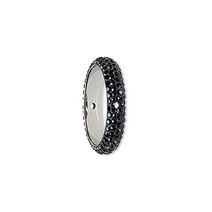 bead, swarovski crystals and epoxy, crystal passions, jet and black, 18.5mm double-drilled pave thread ring (85001). sold individually.