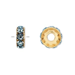 bead, swarovski crystals and gold-plated brass, aquamarine, 12x4.5mm becharmed rondelle with 4mm hole. sold per pkg of 144 (1 gross).