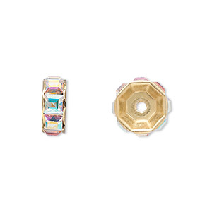 bead, swarovski crystals and gold-plated brass, crystal ab, 12x5mm rondelle (77812). sold per pkg of 4.