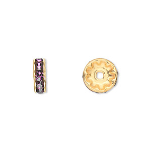bead, swarovski crystals and gold-plated brass, crystal passions, amethyst, 10x3.5mm rondelle (77510). sold per pkg of 48.