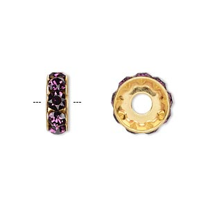 bead, swarovski crystals and gold-plated brass, crystal passions, amethyst, 12x4.5mm becharmed rondelle with 4mm hole. sold per pkg of 4.